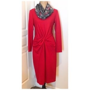 Long Sleeve Red Ruched Anne Klein Dress